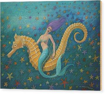 Seahorse Mermaid Wood Print by Sue Halstenberg