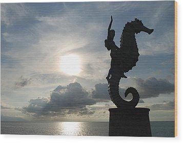 Seahorse Silhouette Wood Print