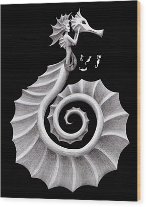 Seahorse Siren Wood Print by Sarah Krafft