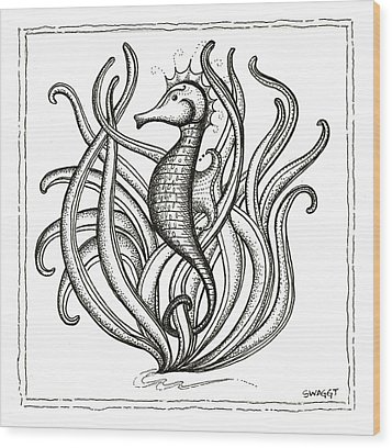 Seahorse Wood Print by Stephanie Troxell