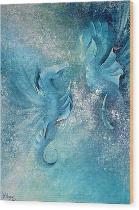 Wood Print featuring the painting Seahorses In Love 1 by Dina Dargo