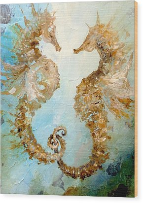 Seahorses In Love 2016 Wood Print by Dina Dargo