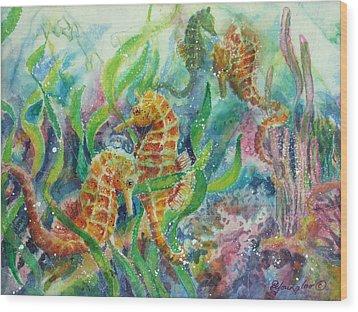Seahorses Three Wood Print by Deborah Younglao