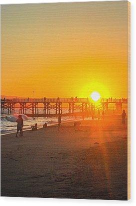 Seal Beach Pier Sunset Wood Print