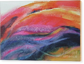 Wood Print featuring the painting Seams Of Color by Kathy Braud