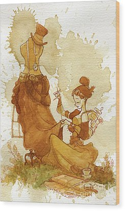 Seamstress Wood Print by Brian Kesinger