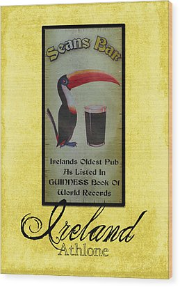 Seans Bar Guinness Pub Sign Athlone Ireland Wood Print