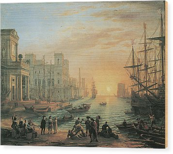 Seaport At Sunset Wood Print by Claude Lorrain