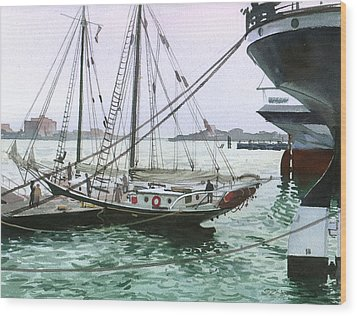 Wood Print featuring the painting Seaport New York by Sergey Zhiboedov
