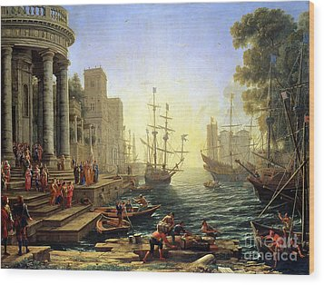 Seaport With The Embarkation Of Saint Ursula  Wood Print by Claude Lorrain