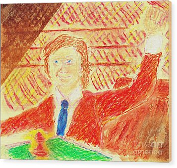 Search For Bobby Fischer Wood Print by Richard W Linford