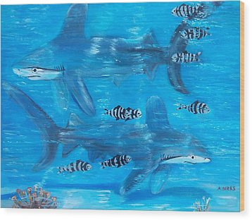 Searching Sharks Wood Print by Aleta Parks