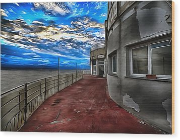 Seascape Atmosphere - Atmosfera Di Mare Dig Paint Version Wood Print