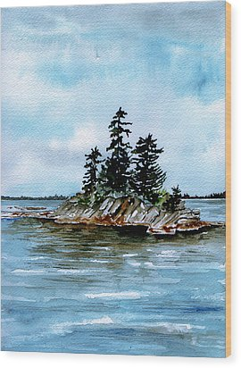 Seascape Casco Bay Maine Wood Print