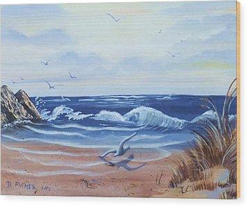 Seascape Wood Print by Denise Fulmer