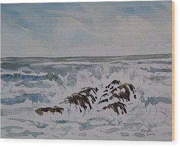 Seascape Ester Lee Wood Print by Lynne Haines