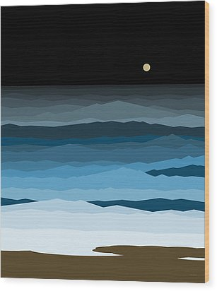 Seascape - Night Wood Print by Val Arie