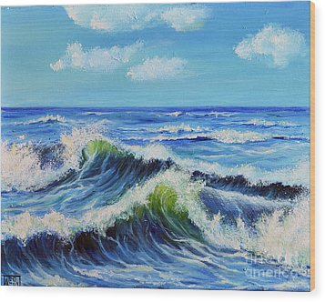 Wood Print featuring the painting Seascape No.3 by Teresa Wegrzyn