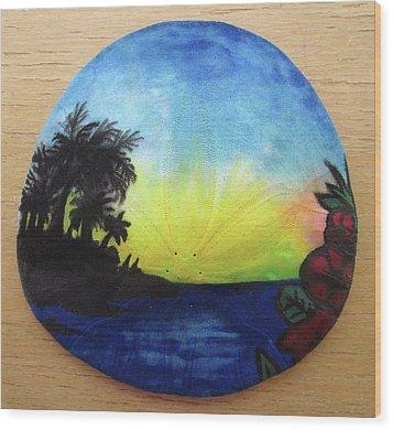 Seascape On A Sand Dollar Wood Print by Mary Ellen Frazee