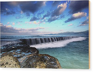 Seascape Paintings For Sale - Falling Oceans Wood Print by Frances Leigh