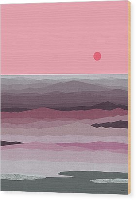 Seascape Pinks Wood Print by Val Arie