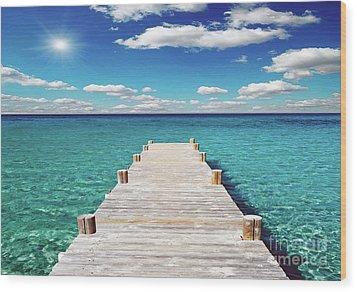 Seascape Sunrise Treasure Coast Florida Pier C6 Wood Print