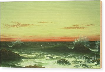 Seascape Sunset 1861 Wood Print by Martin Johnson Heade