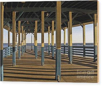 Seascape Walk On The Pier Wood Print by Carol F Austin
