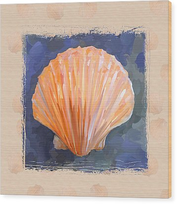 Seashell I Grunge With Border Wood Print by Jai Johnson