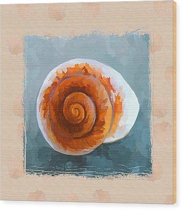 Seashell II Grunge With Border Wood Print by Jai Johnson