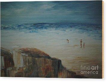 Seashore Wood Print by Vivian  Mosley