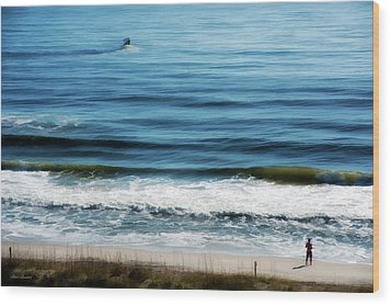 Seaside Fisherman Wood Print