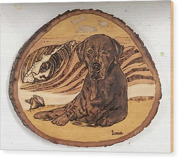 Wood Print featuring the pyrography Seaside Sam by Denise Tomasura