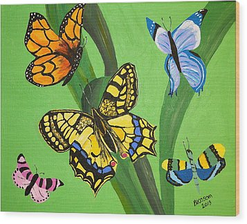 Season Of Butterflies Wood Print by Donna Blossom