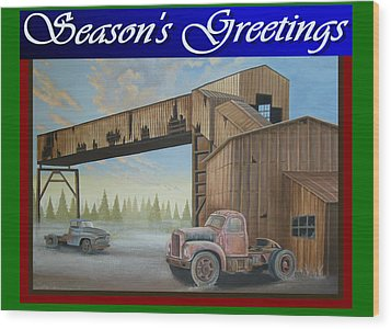 Wood Print featuring the painting Season's Greetings Old Mine by Stuart Swartz