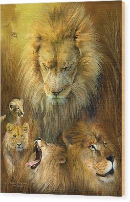 Seasons Of The Lion Wood Print by Carol Cavalaris