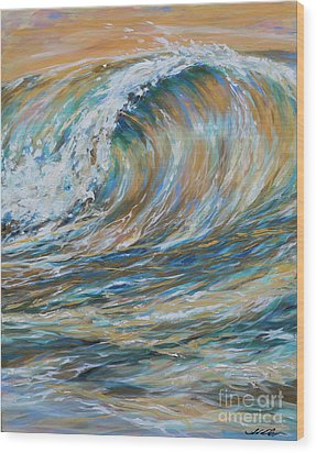 Seaspray Gold Wood Print