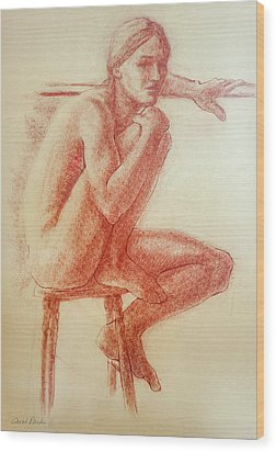 Seated At The Barre Wood Print by Sarah Parks