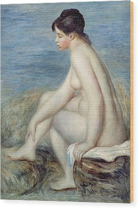 Seated Bather Wood Print by Renoir