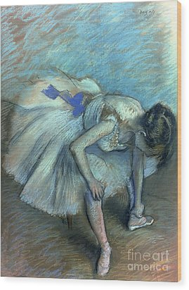 Seated Dancer Wood Print by Edgar Degas