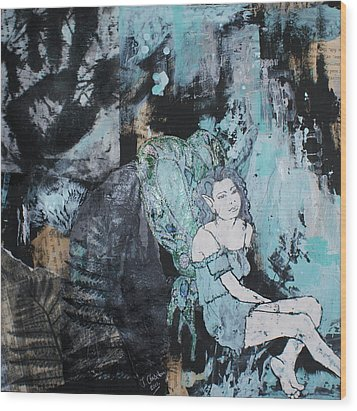 Seated Fairy With Hand 2 Wood Print by Joanne Claxton