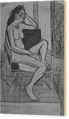Seated Female Wood Print by Joanne Claxton