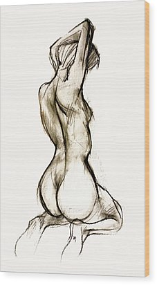 Seated Female Nude Wood Print by Roz McQuillan