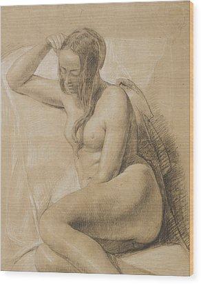 Seated Female Nude Wood Print by Sir John Everett Millais