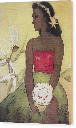 Seated Hula Dancer Wood Print by Hawaiian Legacy Archives - Printscapes