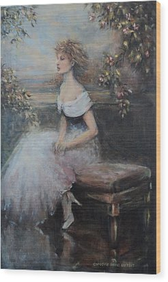 Seated Lady And Flowers Wood Print by Caroline Anne Du Toit