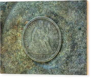 Wood Print featuring the digital art Seated Libery Dime Coin Obverse by Randy Steele