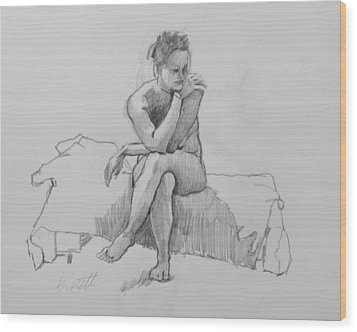 Seated Nude 2 Wood Print by Robert Bissett