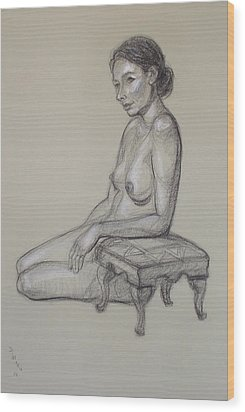 Seated Nude 3 Wood Print by Donelli  DiMaria