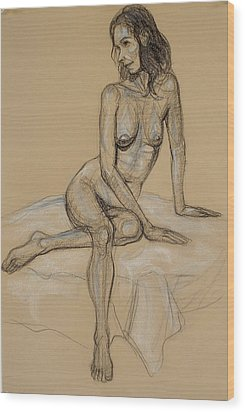 Seated Nude 4 Wood Print by Donelli  DiMaria